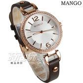 MANGO 晶鑽框 數字簡約氣質真皮手環女錶 防水手錶 學生錶 玫瑰金x咖啡 藍寶石水晶 MA6724L-95R
