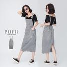 PUFII-吊帶裙 後鬆緊刷破牛仔裙吊帶裙- 0504 現+預 春【CP20269】
