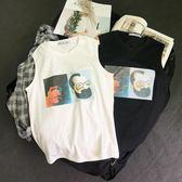 夏季新款人物印花無袖T恤男士BF風寬鬆背心韓版馬甲潮流學生體恤