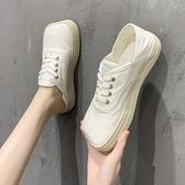 娃娃鞋 方頭帆布鞋子女新款時尚休閑百搭萌丑小白鞋兩穿單鞋女 - 風尚3C