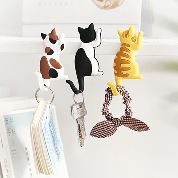 【BlueCat】貓咪背影招手搖搖尾巴磁鐵掛勾 冰箱磁鐵 掛鉤