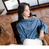 《AB5941-》高含棉兩面穿仿牛仔面平口側釦喇叭袖上衣 OB嚴選