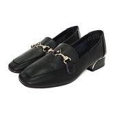 MICHELLE PARK 兩穿 ‧ 軟牛皮飾扣鏡面低跟樂福鞋〈黑〉