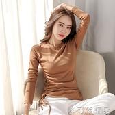 打底衫女春秋新款韓版洋氣體恤長袖純棉t恤女裝抽繩內搭上衣 聖誕節全館免運