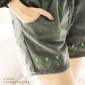 短褲    聖誕樹刺繡素面毛呢短褲    二色原單-小C館日系