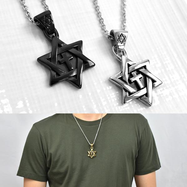 十字架項鍊 鋼製六芒星造型NB959