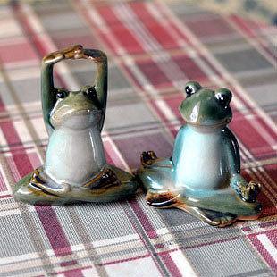 新古典陶瓷家居裝飾擺件  可愛瑜伽小青蛙