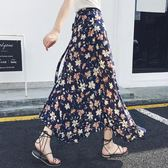 胖mm大碼半身裙女夏季適合胯大腿粗的裙子一片式高腰碎花沙灘長裙 潮人女鞋