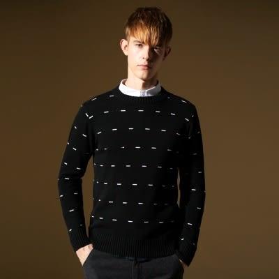 長袖針織衫-時尚圓領點點造型男針織毛衣73ik14【時尚巴黎】