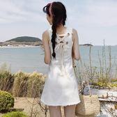 時尚小清新純白色后背綁帶牛仔背心裙女夏季新款毛邊無袖連衣裙潮