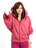 BOBSON 女款連帽寬袖外套(桃粉32132-13)