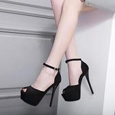 魚口鞋 2021新款15公分超高跟鞋性感恨天高夜店細跟顯瘦涼鞋魚嘴鞋16CM