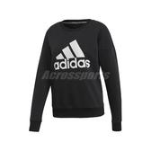 adidas 長袖T恤 MH BOS Sweatshirt 黑 白 女款 大學T 運動休閒 【PUMP306】 EB3815