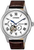 日本星辰 CITIZEN 三眼後鏤空機械錶皮革腕錶 NP1020-15A 台灣總代理公司貨 保固一年
