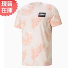 【現貨】PUMA Summer Court 男裝 短袖 純棉 休閒 海灘 滿版 白 粉 歐規【運動世界】84581227