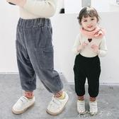 兒童燈芯絨加絨褲子冬裝男女童休閒外穿長褲哈倫棉褲 卡卡西