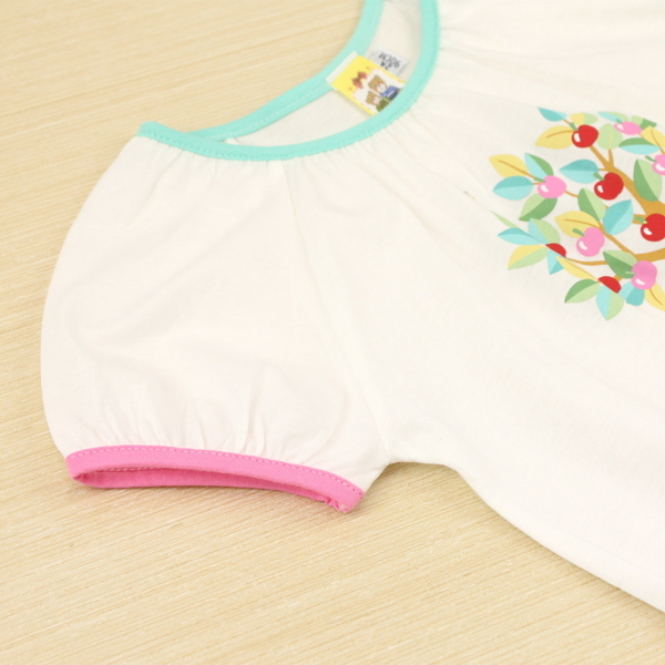 【愛的世界】純棉圓領水果百匯彩邊短袖上衣/2~4歲-台灣製-  - ---春夏上著 夏出清