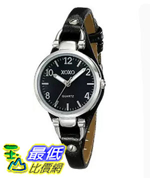 [美國直購] 女錶 XOXO Women s XO3396 Silver-Tone Watch with Black Synthetic Leather Band