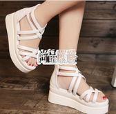 涼鞋女 夏季新款坡跟白色厚底增高魚嘴鬆糕正韓學生涼鞋女 萬聖節