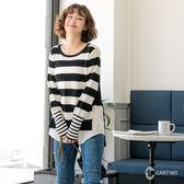 CANTWO拼接襯衫下擺條紋針織上衣-共三色