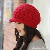 貝雷帽 帽子女秋冬季韓版潮時尚青年兔毛帽加厚鴨舌貝雷帽保暖針織毛線帽 瑪麗蓮安