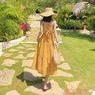露背洋裝露背顯瘦沙灘裙2021夏日新款女裝海邊度假性感吊帶純色超仙連身裙 愛丫 免運