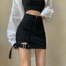 短裙 牛仔半身裙不規則高腰緊身包臀短裙女夏季2021年新款黑色a字裙子