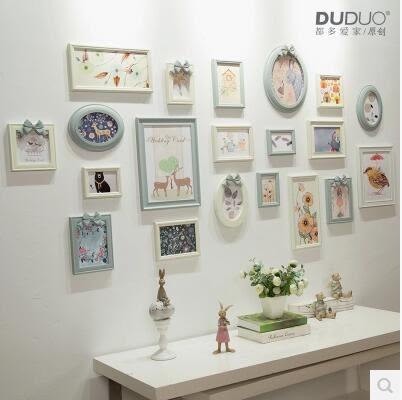 原創歐式實木照片牆 創意蝴蝶結橢圓相框組合相片牆20框掛牆