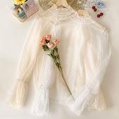 罩衫 新款喇叭袖網紗衣鏤空蕾絲衫網紗打底衫夏季寬鬆上衣女夏易家樂