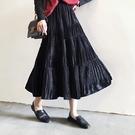 長裙【夜的鋼琴曲】奶油柔絨超大擺百摺拼接半身裙魚尾裙復古裙子長裙 新品