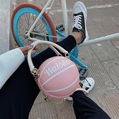 個性搞怪小圓包包女包籃球足球包斜背手提鏈條包【小柠檬3C】