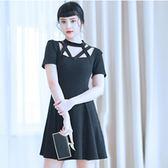 禮服 大碼蘿莉女裝 藏肉連身裙加肥加大韓版鏤空性感針織連身裙igo coco衣巷