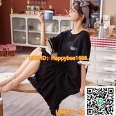 女生睡衣女夏季睡裙短袖寬松長款可愛大碼學生甜美簡約新款可外穿【happybee】