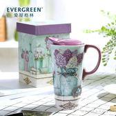 愛屋格林馬克杯大容量創意杯子陶瓷水杯家用簡約帶蓋咖啡杯『韓女王』