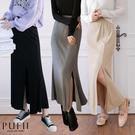 PUFII-中長裙 鬆緊腰素面坑條開衩中...