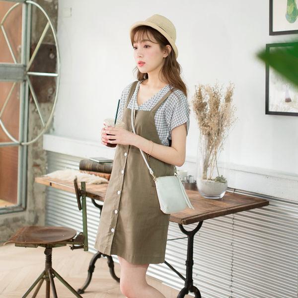 OB嚴選《CA997-》純色高含棉雙口袋前排釦吊帶洋裝.2色--適 S~L