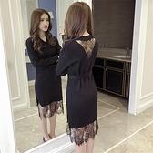 秋冬新款中長款寬鬆蕾絲拼接針織連衣裙女韓版顯瘦黑色打底裙子潮