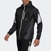 Adidas M SEASO WB [GV5307] 男 外套 亞洲版 運動 慢跑 休閒 連帽 風衣 舒適 愛迪達 黑白
