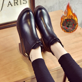 短靴女春秋新款百搭粗跟中跟馬丁靴裸靴圓頭百搭短靴女靴子