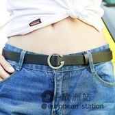 腰帶/無孔圓扣學生皮帶女韓版時尚裝飾褲帶簡約百搭韓國細潮