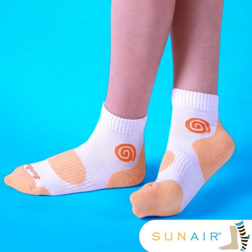sunair 滅菌除臭襪子-自行車款1/2筒M(21~24.5) (白+粉橙)/SA1203