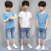 男童2019新款套裝中大男孩洋氣短袖兒童裝 QW2958『夢幻家居』