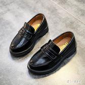 2019新款黑色男童皮鞋休閒鞋英倫風復古學生單鞋高大尚結婚伴郎氣質童鞋LZ1223【甜心小妮童裝】