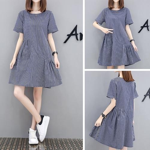 棉麻洋裝 棉麻連身裙夏季短袖2020大碼遮肚顯瘦氣質a字打底裙子中長款條紋