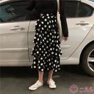 半身裙春裝女裝韓版高腰顯瘦不規則雙層魚尾半身裙波點蛋糕裙A字裙長裙