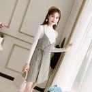 VK精品服飾 韓系格子吊帶長袖針織修身套裝長袖裙裝