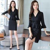 大尺碼新款女裝職業連衣裙套裝韓版時尚氣質修身裙子 QQ16013『東京衣社』