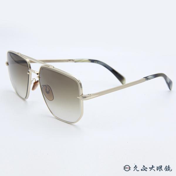 DB EYEWEAR 貝克漢設計品牌 DB 7001S (金) 復古 雙槓 太陽眼鏡 久必大眼鏡