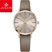 JULIUS 聚利時 迷戀的精彩圓珠刻度皮錶帶腕錶-卡其色/33mm 【JA-1034D】