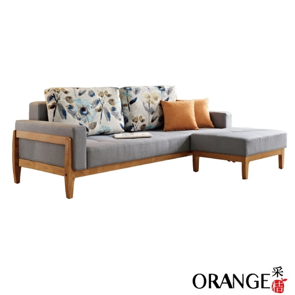 【采桔家居】恩斯  美型機能棉麻布獨立筒L型沙發/沙發床(展開式機能設計)